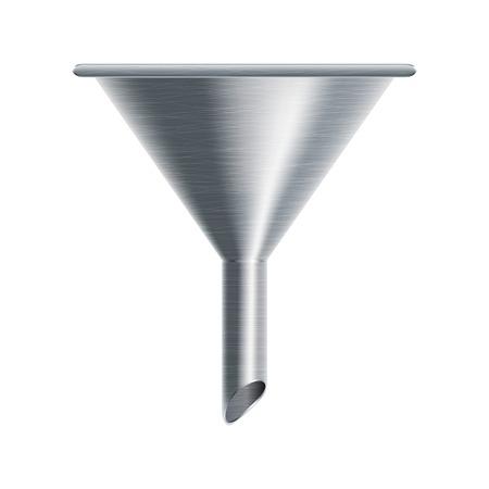 metallic funnel isolated on white background illustration