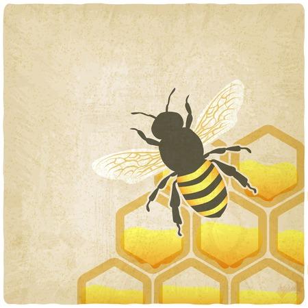 bee honeycomb old background illustration