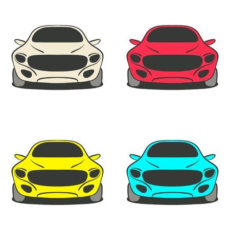 front wheel: car set four colors - vector illustration