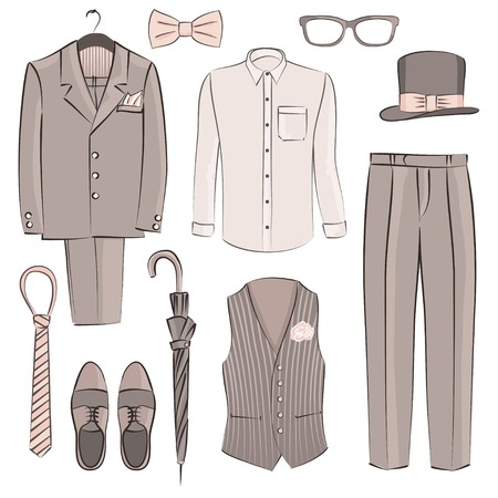 sketch groom clothing - vector illustration Vector