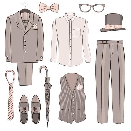 shirt hanger: sketch groom clothing - vector illustration Illustration