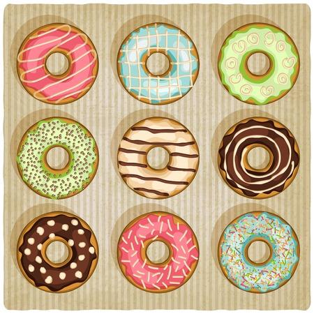 donuts retro striped background - vector illustration
