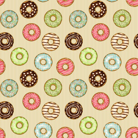 donuts seamless pattern - vector illustration
