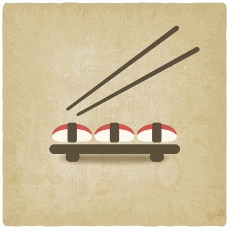 brown rice: sushi old background - vector illustration