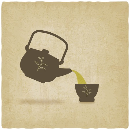 tea ceremony old background - vector illustration