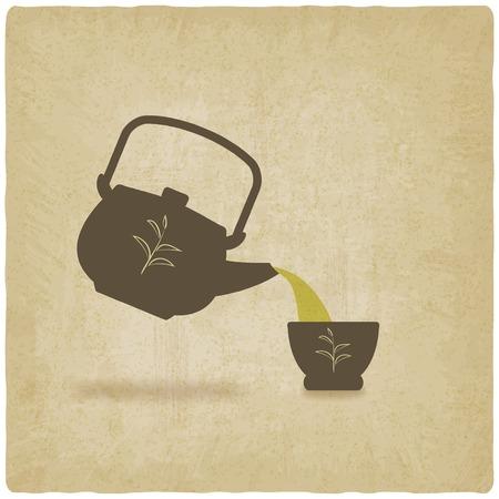 tea ceremony old background - vector illustration Vector