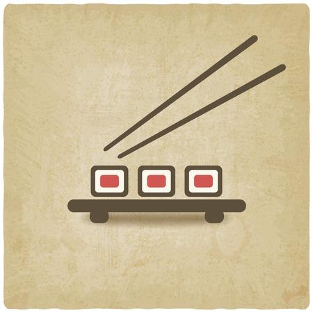 sushi roll old background - vector illustration Vector