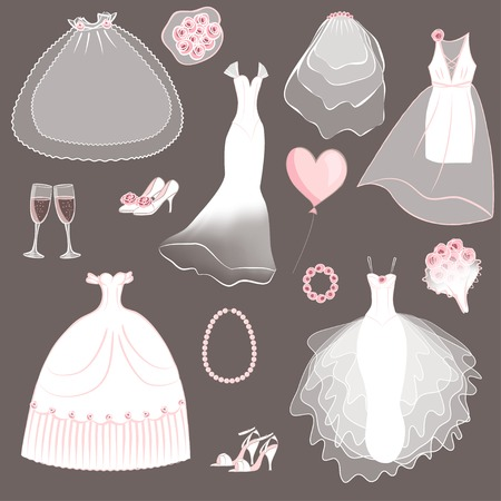 wedding dresses set - vector illustration Vector