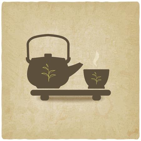 chinese tea pot: tea ceremony old background - vector illustration