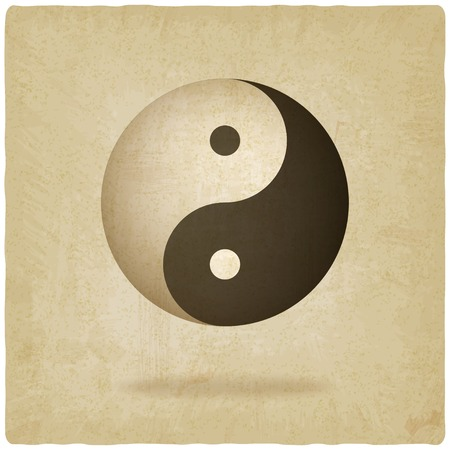 Yin yang old background - vector illustration Vector