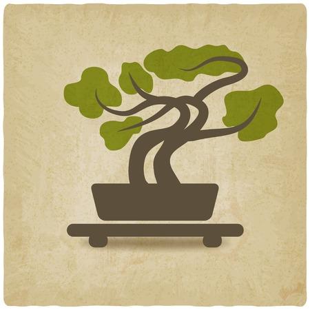 bonsai old background - vector illustration Stock Illustratie