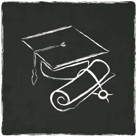 Graduation cap and diploma on old background - vector illustration Illustration