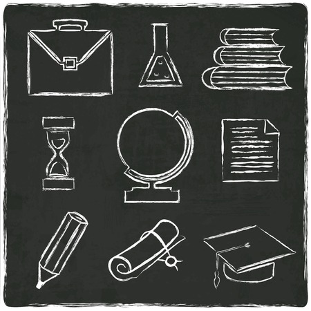 Education icons set on old black board - vector illustration Vector