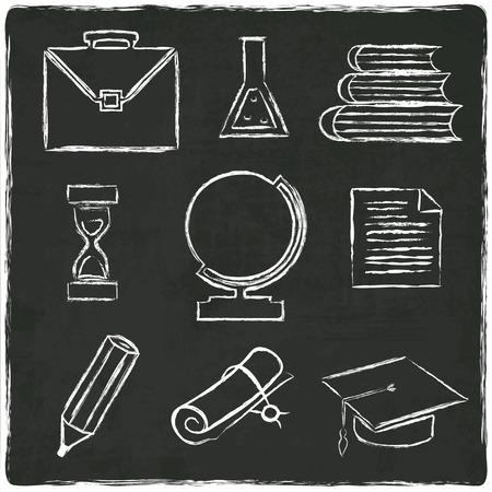 graduated: Education icons set on old black board - vector illustration Illustration