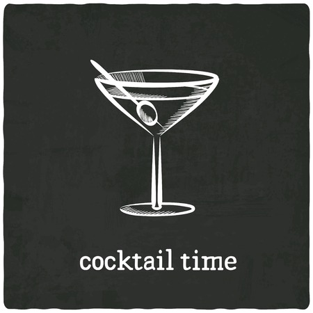 cocktail black old background - vector illustration