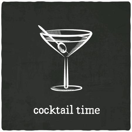 cocktail black old background - vector illustration