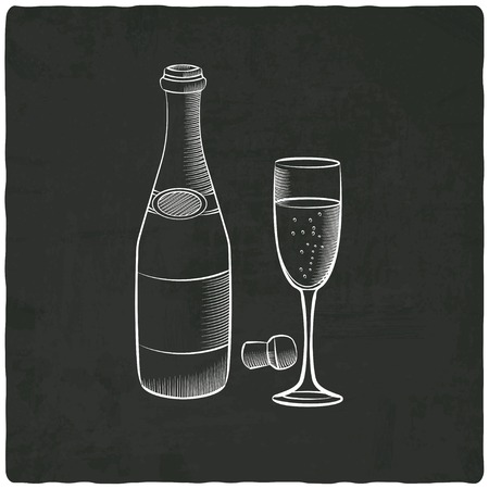 happy hours: champagne on black old background - vector illustration
