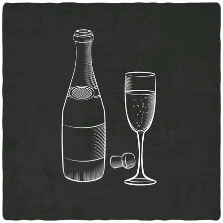 champagne on black old background - vector illustration