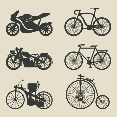 motorcycle and bicycle icons - vector illustration  eps 8 Vector