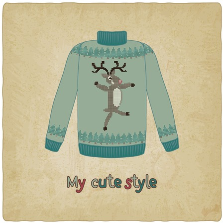 cute sweater old background - vector illustration  eps 10