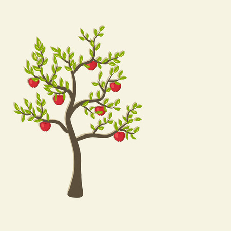 red apple tree background - vector illustration  eps 10 Vector