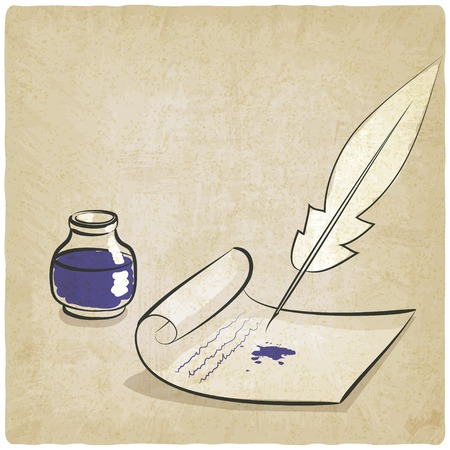 inkwell: inkwell pen paper old background
