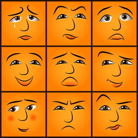 smiling faces: cartoon emotions set - vector illustration     Illustration