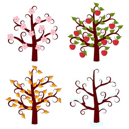 Cuatro árboles de las estaciones de arte Foto de archivo - 27572088
