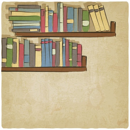 old background: hand drawing bookshelf old background