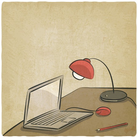 workplace laptop lamp old background  Vector