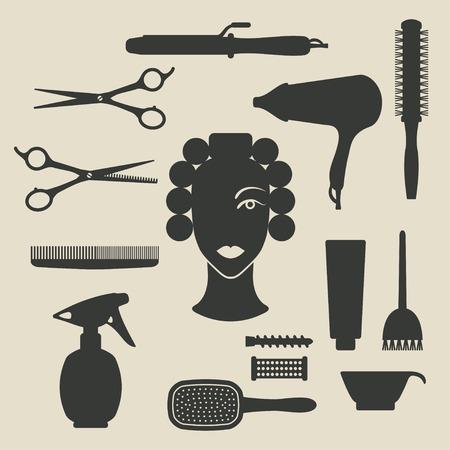 hairstylist: hairdresser icons set