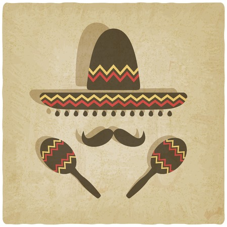 maracas: Mexican sombrero old background