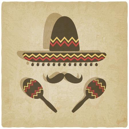 mexican sombrero: Sombrero messicano vecchio sfondo Vettoriali