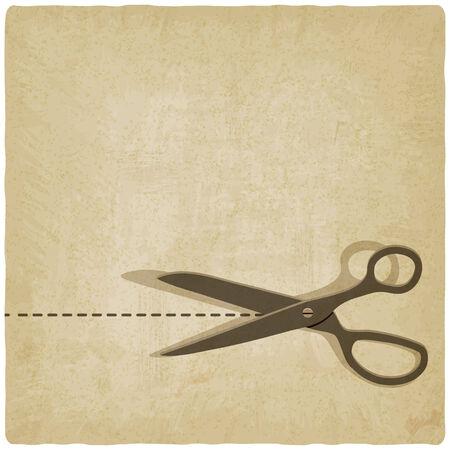 scissors cut lines old background - vector illustration. eps 10 Vector