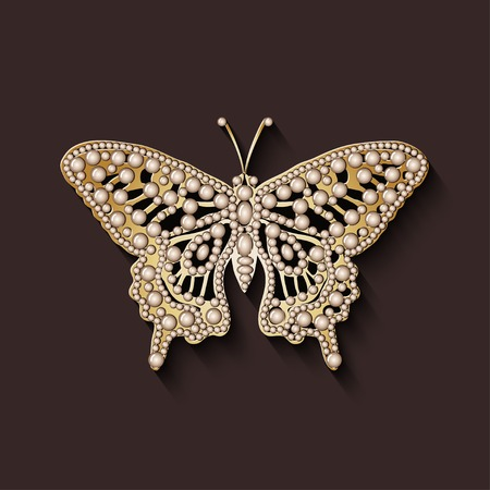 brooch: pearl brooch butterfly - vector illustration. eps 10