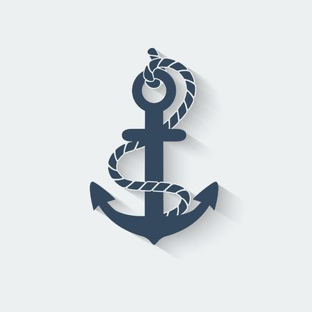 ancla: anclar náutico icono símbolo - ilustración vectorial. eps 10