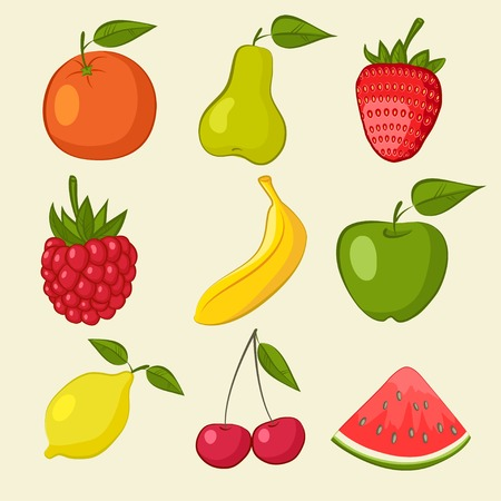 fruit and berries icons - vector illustration. eps 8 Vector