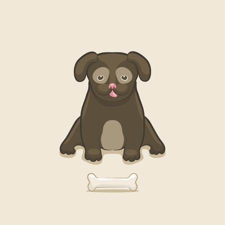 Puppy with bone - vector illustration. eps 8 Vector