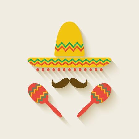 sombrero: Mexicaanse sombrero en maracas - vector illustratie. eps 10 Stock Illustratie