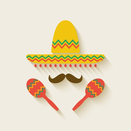 Mexican sombrero and  maracas - vector illustration. eps 10 Vector