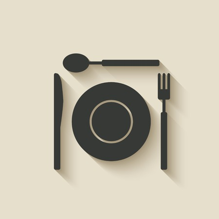 old people eating: plate fork knife spoon icon - vector illustration. eps 10
