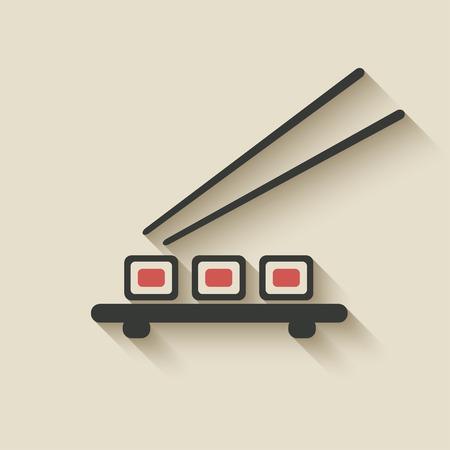 chopstick: sushi roll icon - vector illustration. eps 10