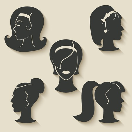 women hairstyle icons - vector illustration. eps 10 Vector