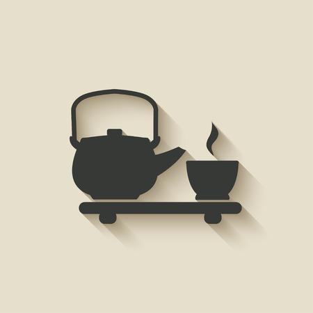 chinese teapot: tea ceremony icon - vector illustration. eps 10 Illustration