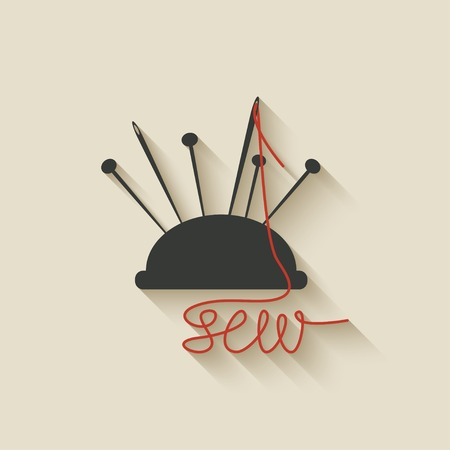 sartorial: sewing needles background - vector illustration.