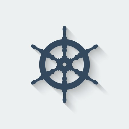 ship steering wheel: steering wheel design element - vector illustration. Illustration