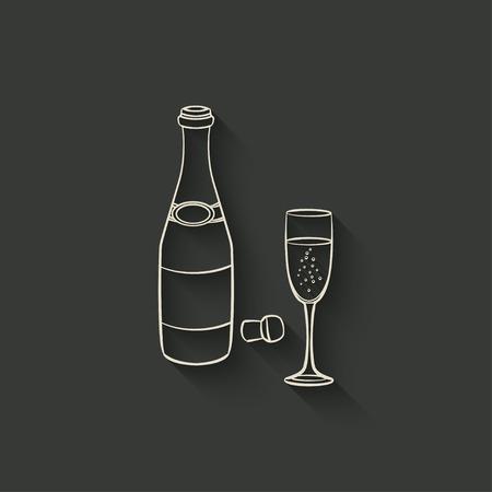 champagne fles en glas - vector illustratie.
