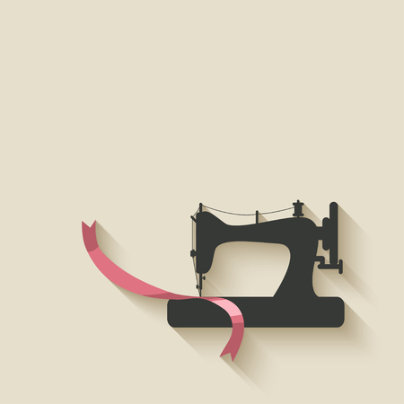 seamstress: sewing machine background - vector illustration.  Illustration