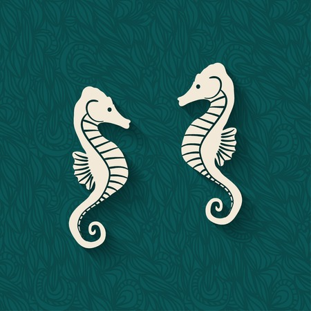 seahorse: seahorse marine background - vector illustration.