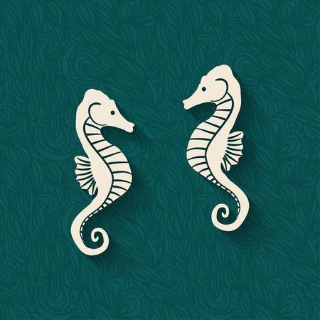 seahorse marine background - vector illustration.